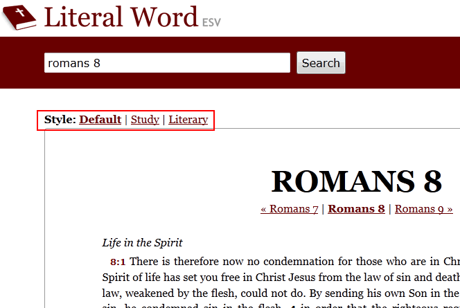 Literal Word - The ESV Online
